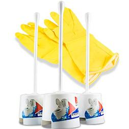 3 Pack Toilet Bowl Brush with Holder Portable Self Standing