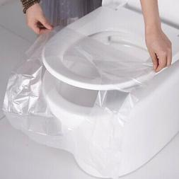 50pc Disposable Plastic Toilet Seat Cover Mat Home Travel Cl