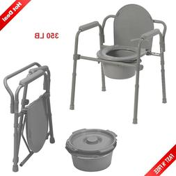 Adult Toilet Seat Potty Commode Chair Bedside Folding Bariat