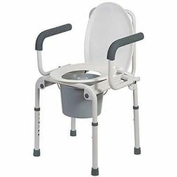 dmi portable toilet deluxe commode chair drop