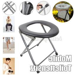 Folding Portable Toilet Seat Commode for Pregnant, Outdoor C