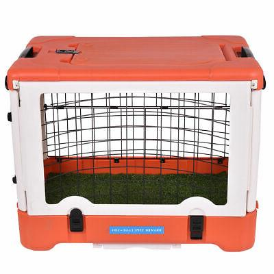 """36"""" Dog Pet Kennel Cage 4 Folding Portable Travel Grass Pad w/ Tray"""