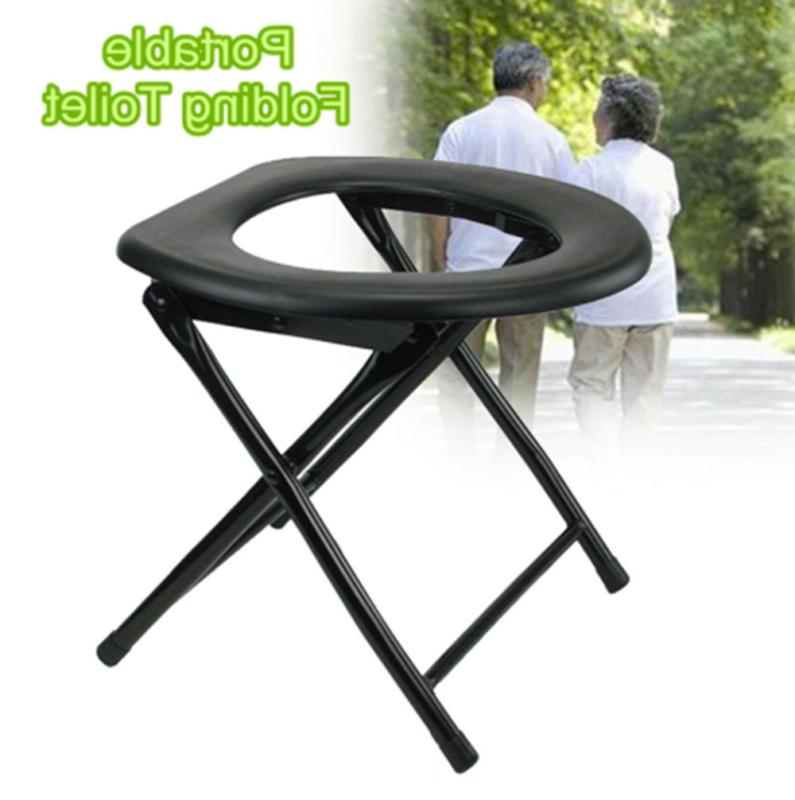 Folding Portable Toilet Seat Commode for Pregnant Outdoor Ca