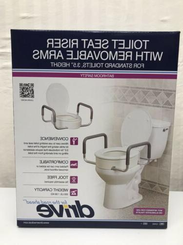 new raised toilet seat with removable arms