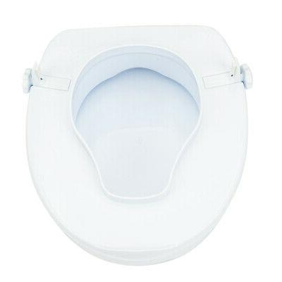 """Portable 4"""" PE Elevated Toilet Seat with Cover Safety Seat"""
