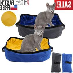 Portable Foldable Cat Sifting Litter Pan Box Toilet Waterpro