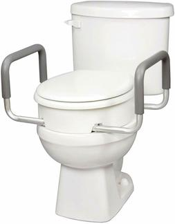 Premium Raised Toilet Seat with Removable Arms for Standard
