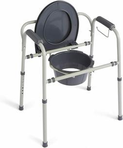 Medline Steel 3-in-1 Bedside Commode, Portable Toilet with M
