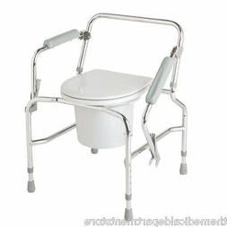 steel drop arm portable bedside commode toilet